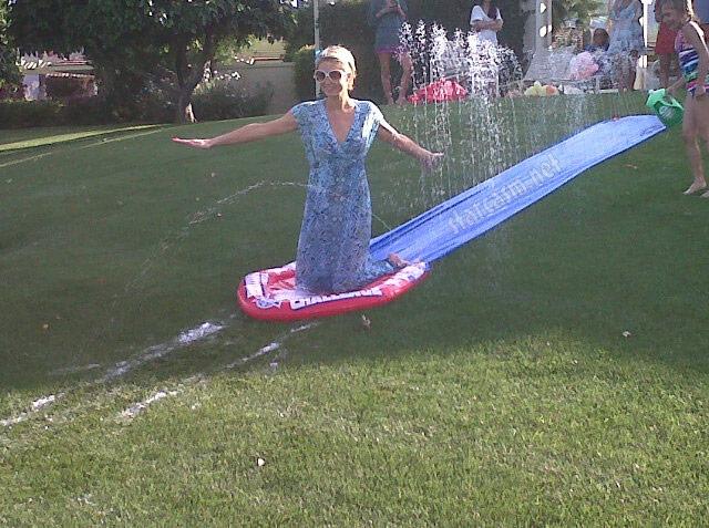 Great photo of Paris Hilton over Easter weekend on a slip-n-slide