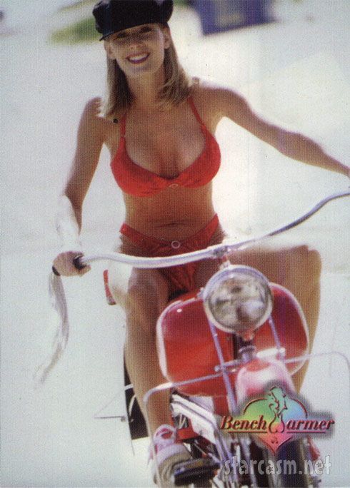 Peggy Tanous as Peggy Tyler on a motorcycle for Bench Warmer card