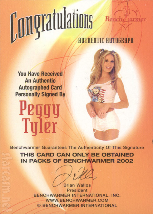 Autographed Peggy Tyler Bench Warmer Archive Auto card from 2002