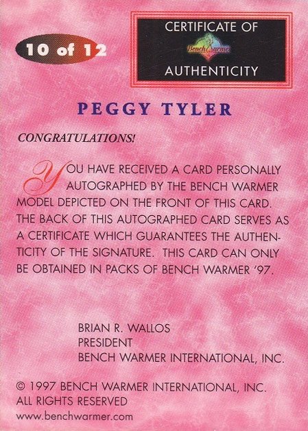 "Peggy Tyler 1997 Bench Warmer card ""Authentic Autograph"""