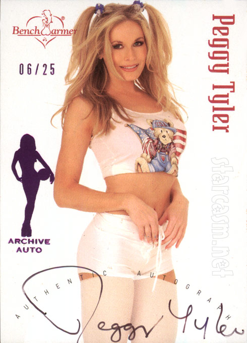 Peggy Tanous as Peggy Tyler on a limited edition 2002 Bench Warmer trading card