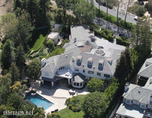 Aerial view of Robbie William's Los Angeles home