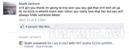 Seath Jackson's last status update against Amber Wright on Facebook