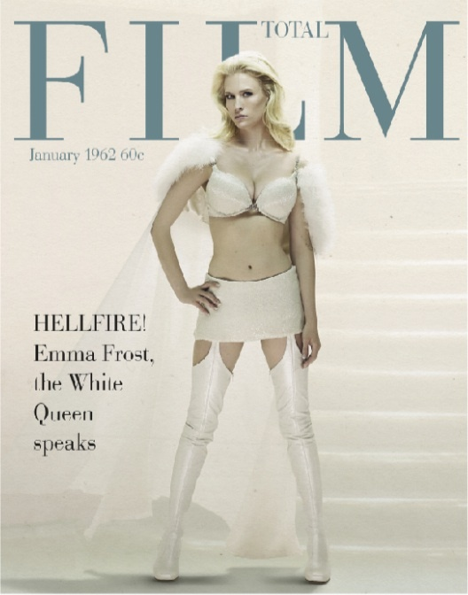 January Jones in her Emma Frost costume on the June 2011 cover of Total Film