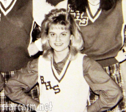 Amy Poehler cheerleading photo from the 1989 Burlington High School yearbook