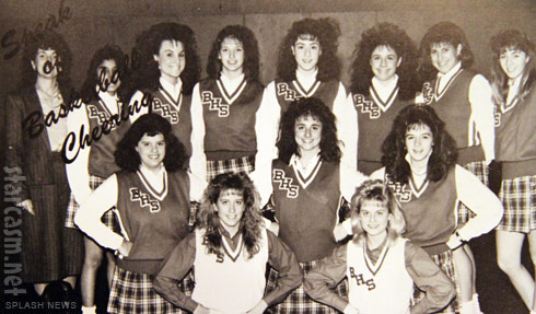 Amy Poehler high school yearbook photo of her on the Burlington High cheerleading squad