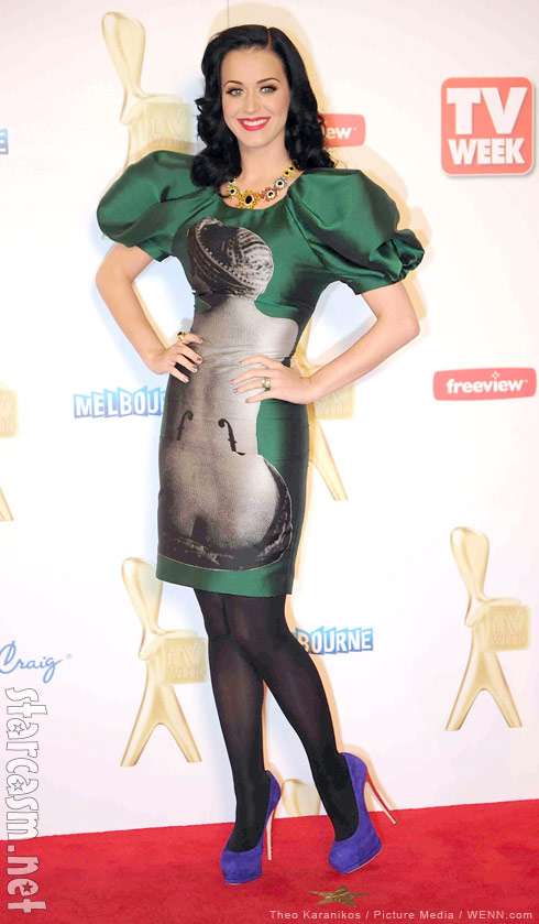 "Katy Perry in her Man Ray ""Ingres's Violin"" print dress at the 2011 Logie Awards"