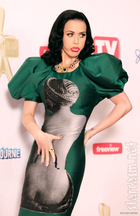 Katy Perry makes a funny face in her Man Ray print dress at the 2011 Logie Awards in Australia