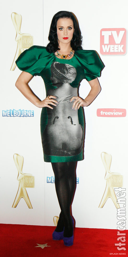 Katy Perry wears a Man Ray Le violin de Ingres print dress to the Logie Awards