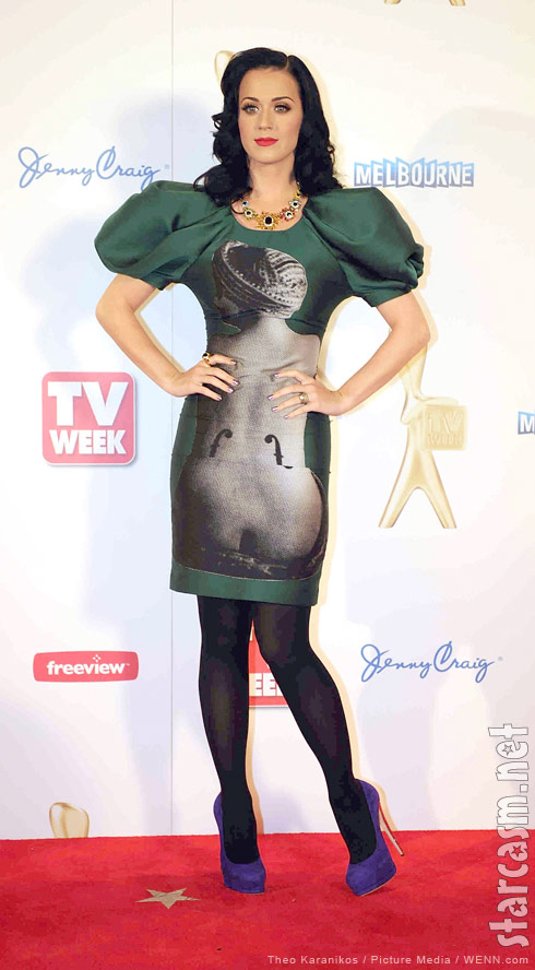 Katy Perry on the red carpet at the 2011 Logie Awards in a Man Ray print dress