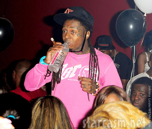 Lil Wayne smoking and drinking at Chris Brown's 22nd birthday party in Miami