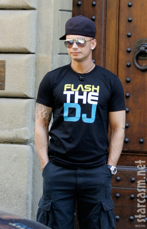 DJ Pauly D wearing a Flash the DJ tee shirt in Florence Italy
