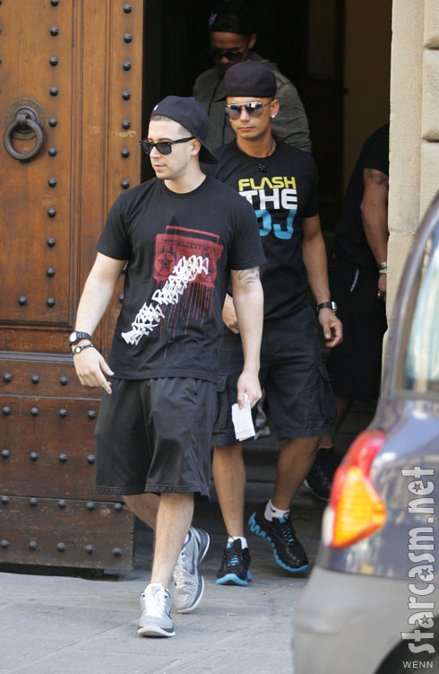 Vinny Guadagnino wearing a dirty beats shirt in Florence Italy