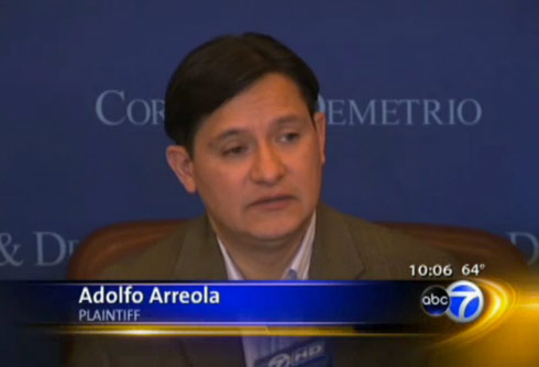 Alleged Real Housewives of New Jersey attack victim Adolfo Arreola at a press conference