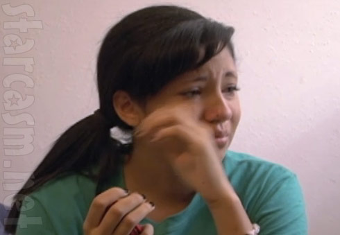 16 and Pregnant's Allie Mendoza cries after being attacked by her boyfriend's mother Yolanda