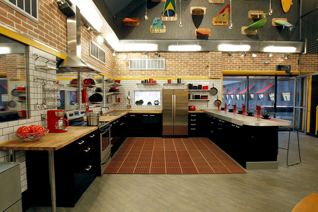Early look at the Big Brother 13 house's kitchen with surfboards mounted in the wall