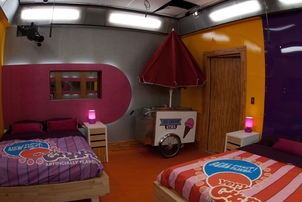 Interior photo of the Big Brother Season 13 house Katy Perry California Girl bedroom