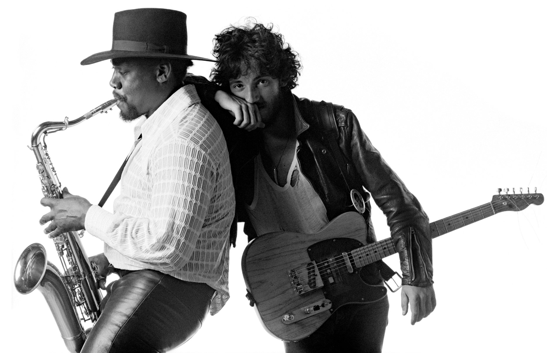 Bruce Springsteen and Clarence Clemons from the Born to Run album cover photo shoot