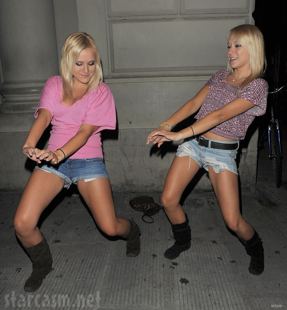 Twins Erica Taltos and Brittany Taltos dance for the cameras in Florence Italy