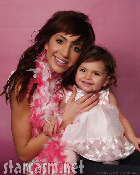 Teen Mom Farrah Abraham and daughter Sophia pose for a studio portrait
