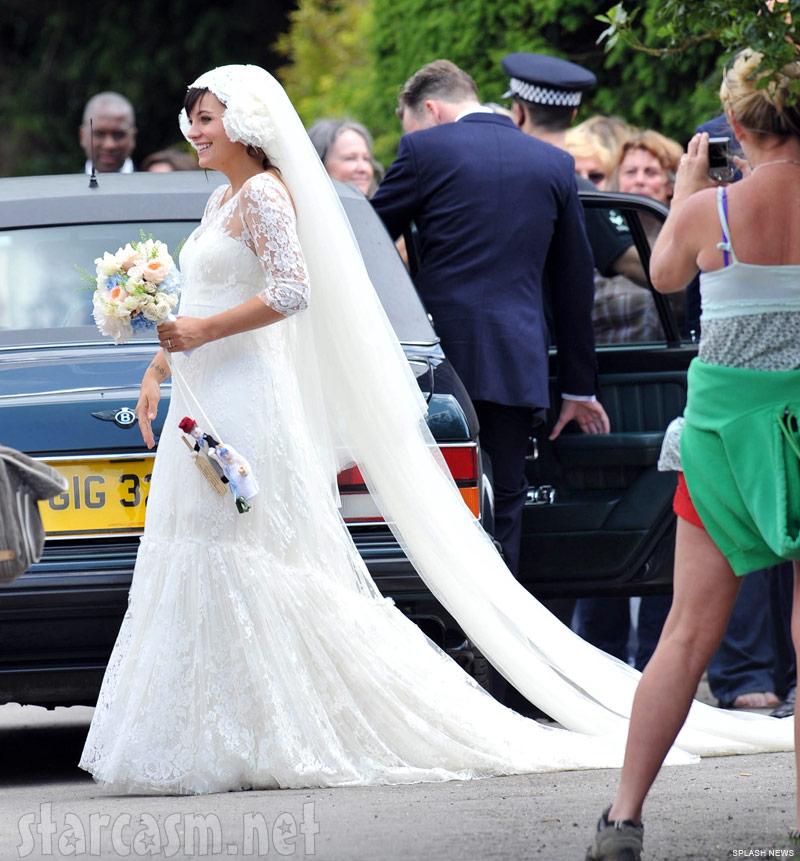 Full-length photo of Lily Allen's wedding dress designed by Delphine Manivet
