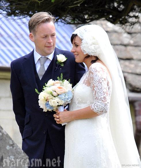 Bride Lily Allen and groom Sam Cooper at tehir wedding on June 11, 2011
