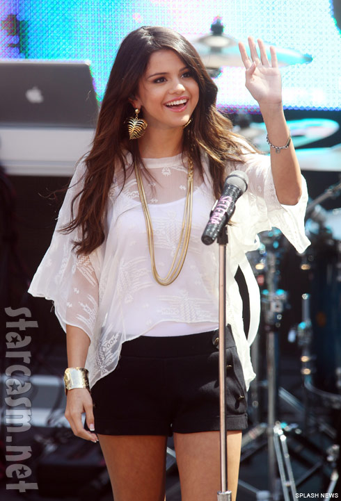 Selena Gomez on stage in Santa Monica days after being hospitalized