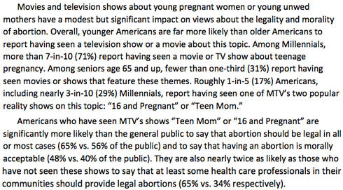 The Millenials, Abortion and Religion Survey - Teen Mom section