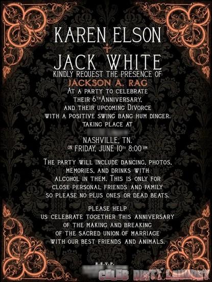 Jack White and Karen Elson split, throw a party