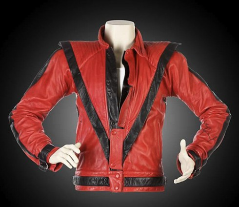 Red leather Thriller jacket will be auctioned