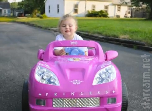 Teen Mom Amber Portwood and Gary Shirley's daughter Leah driving a hot pink toy car