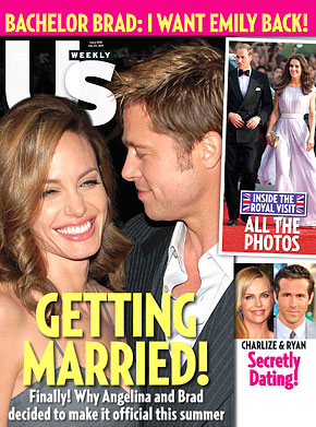 Us Weekly Cover from July 2011 claiming Brad Pitt and Angelina Jolie are planning a wedding