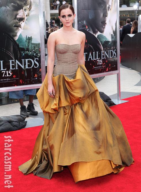 Emma Watson wears a Bottega Veneta gown to Potter premiere