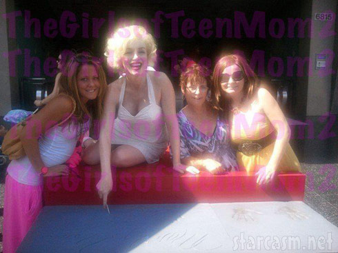 Jenelle Evans, Marilyn Monroe, Jenelle's mom Barbara and her sister Ashleigh in L.A.