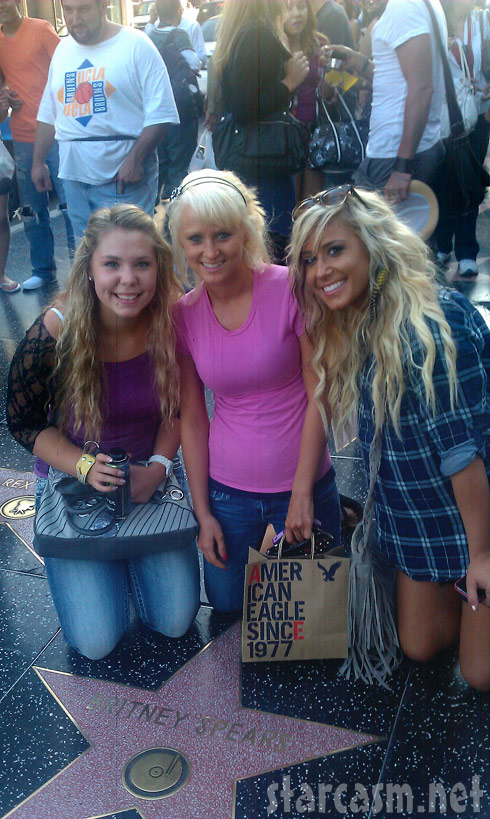 Kailyn Lowry Leah Messer and Chelsea Houska of Teen Mom 2 pose with Britney Spears' star