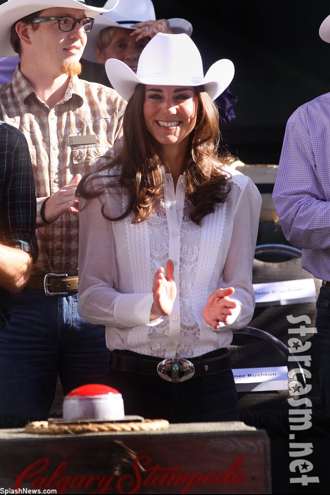 Kate Middleton in a ten gallon hat and a big belt buckle