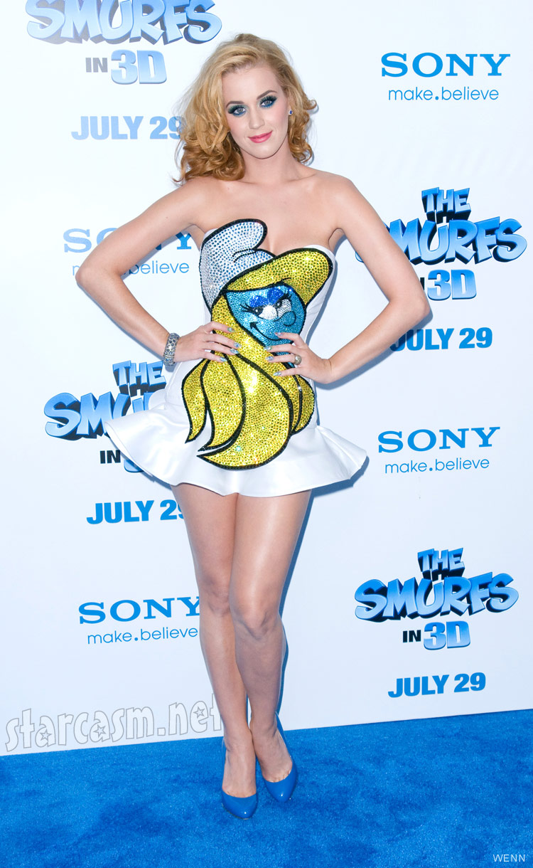 Katy Perry in a sexy Smurfette dress at The Smurfs movie premiere