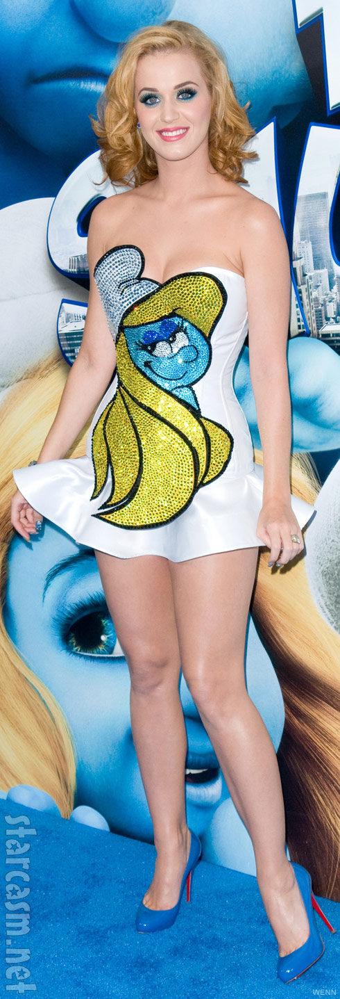 Katy Perry's Smurfette dress at The Smurfs premiere July 24, 2011