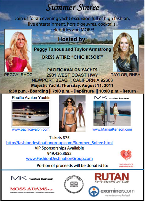 Flyer for Summer Soiree cruise featuring Real Housewives Peggy Tanous and Taylor Armstrong