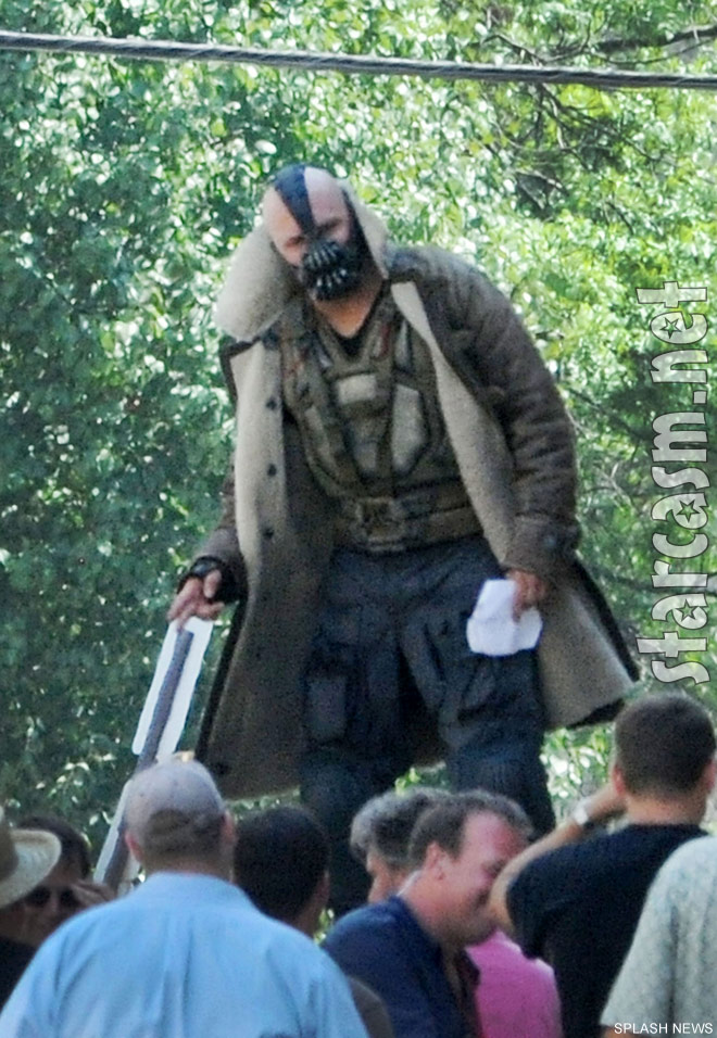 Tom Hardy in his Bane costume on set of The Dark Knight Rises