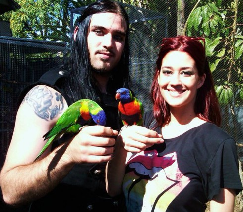 Weston Cage and wife Nikki Williams are a couple of strange birds