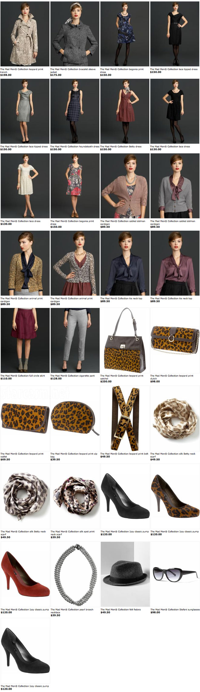 All of the womens clothing and accessories from the Banana Republic Mad Men collection
