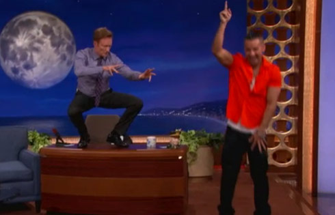 Conan stoked after doing The Situation's work out