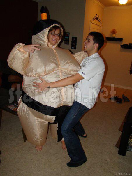 Farrah Abraham's boyfriend Daniel Alvarez parties with a girl in an inflatable sumo wrestler suit