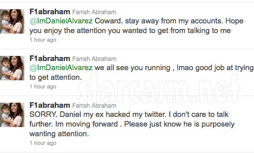 Teen Mom Farrah Abraham's angry tweets about ex-boyfriend Daniel Alvarez