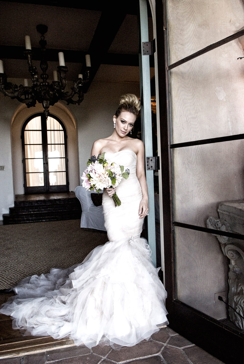 Hilary Duff wedding photo with her in her wedding dress