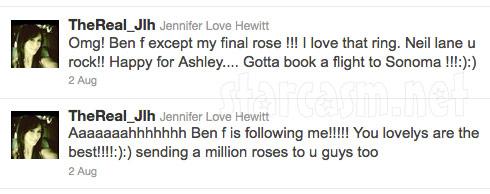 Jennifer Love Hewitt tweets her affection for The Bachelorette's Ben F. Flajnik