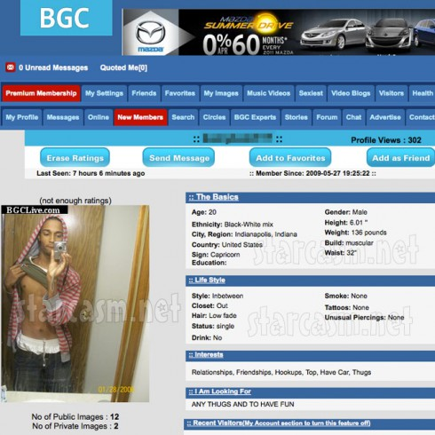 Hinkle Craiglist hook up Kameryn Gibson's profile on the gay/bisexual networking site BGCLive.com