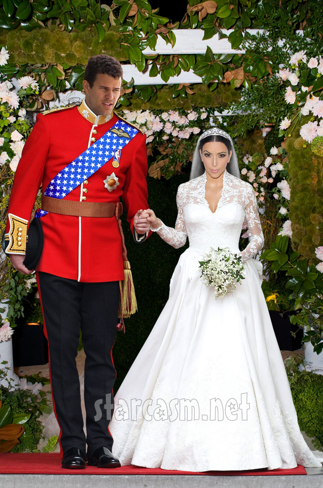 Kim Kardashian wearing KAte Middleton's wedding dress, Kris Humphries as Prince William