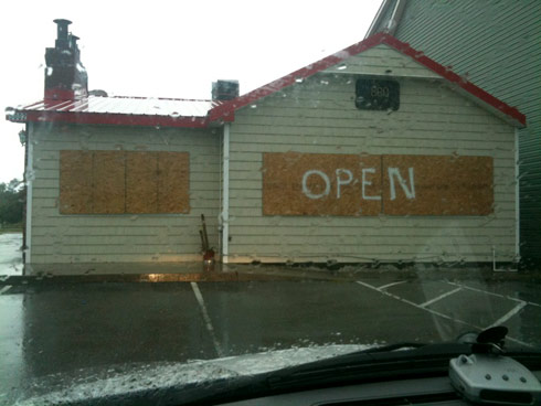 BBQ restaurant stays open in Oak Island North Carolina during hurricane Irene